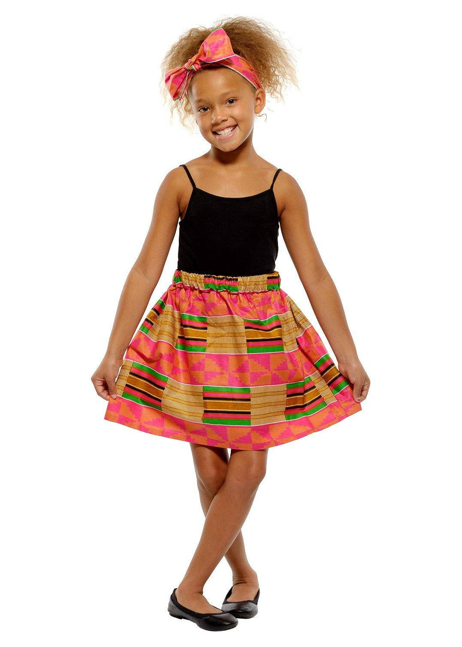 Skirts - Abina African Print Full Skirt For Little Girls (Pink/Beige)