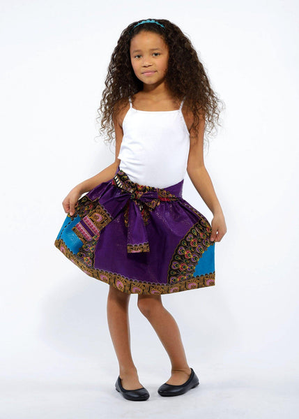 Skirts - Abina African Print Full Skirt For Little Girls (Purple/Gold)