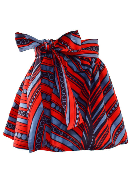 Skirts - Abina African Print Full Skirt For Little Girls (Red/Grey)