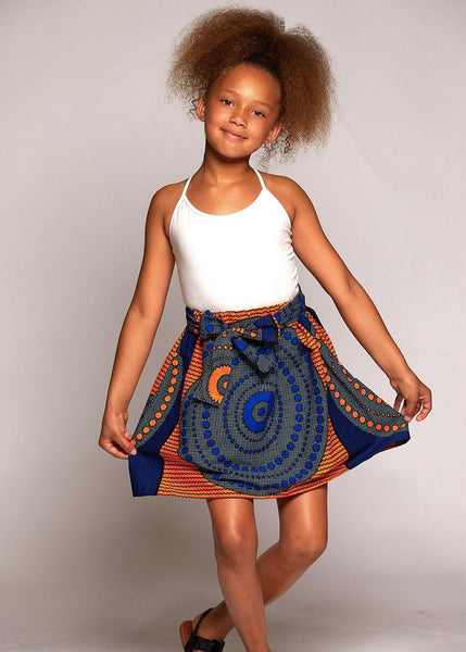 Skirts - Abina African Print Full Skirt For Little Girls (Yellow Blue Circles)