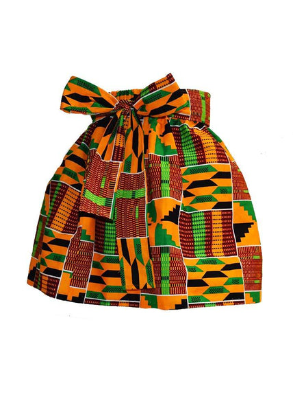 Skirts - Abina African Print Full Skirt For Little Girls (Yellow Green Kente)