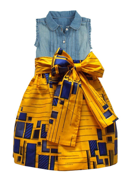 Skirts - Abina African Print Skirt For Little Girls (Yellow/Blue)