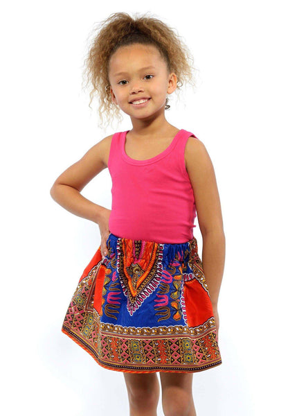 Skirts - Abina Dashiki African Print Full Skirt For Little Girls (Blue/Orange)