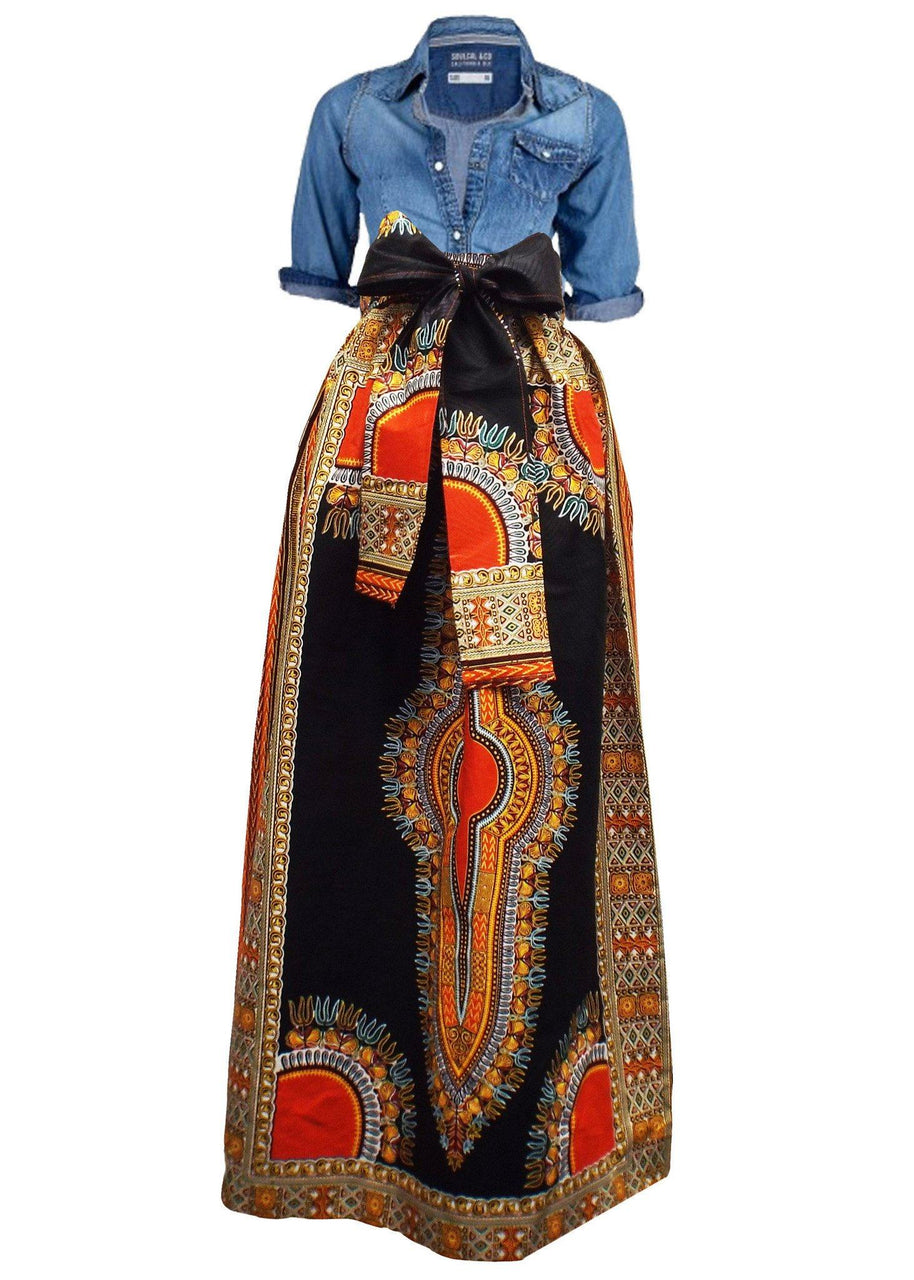 Skirts - African Dashiki Print Maxi Skirt (Black/Orange)