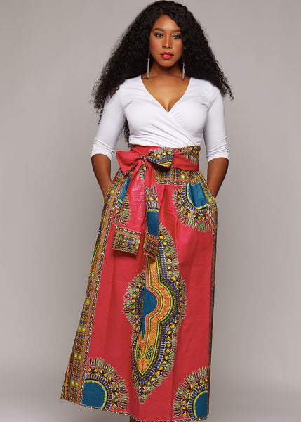Skirts - African Dashiki Print Maxi Skirt (Raspberry/Blue)