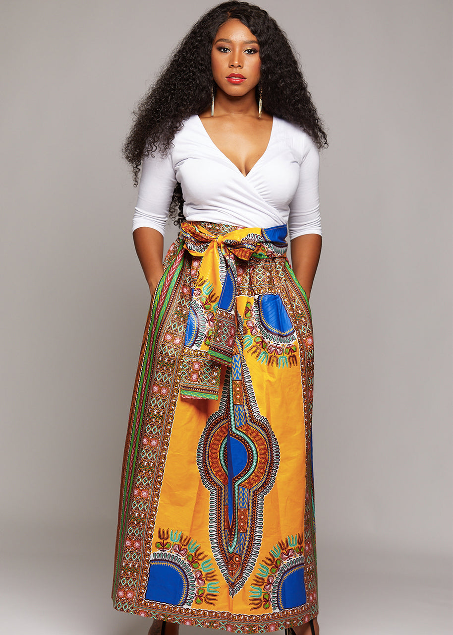 Skirts - African Dashiki Print Maxi Skirt (Yellow/Blue)