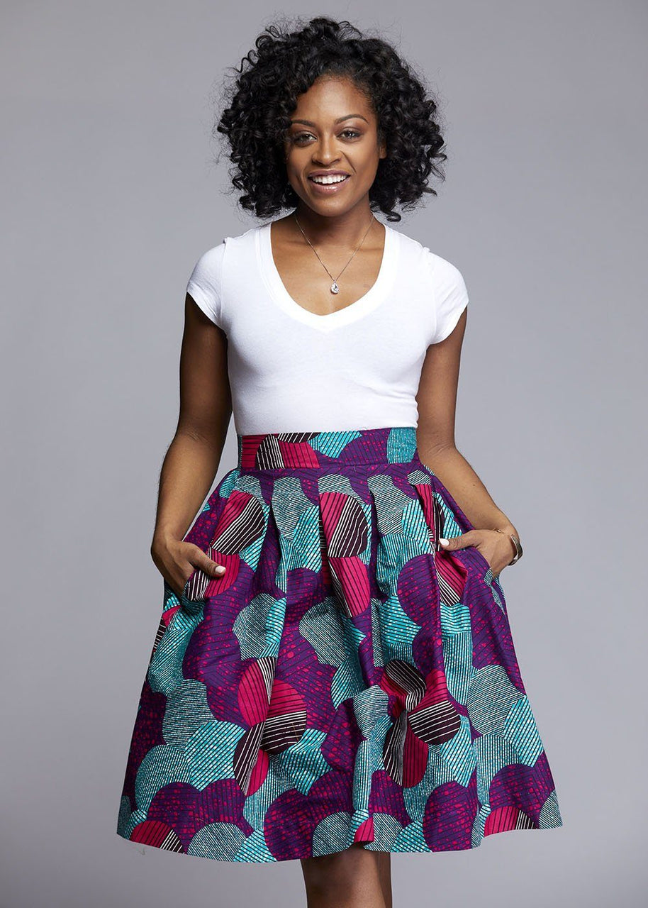Skirts - Amsa African Print Midi Skirt With Sash (Purple/Aqua)