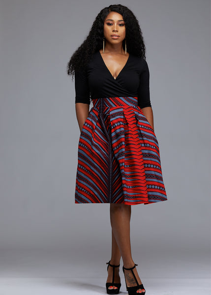 Skirts - Amsa African Print Midi Skirt With Sash (Red/Grey)