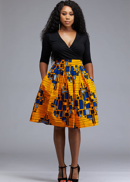 Skirts - Amsa African Print Midi Skirt With Sash (Yellow/Blue)