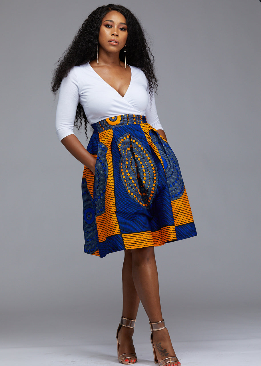 Skirts - Amsa African Print Midi Skirt With Sash (Yellow Blue Circles)