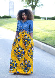 Skirts - Chic African Print Maxi Skirt (Yellow/Blue)