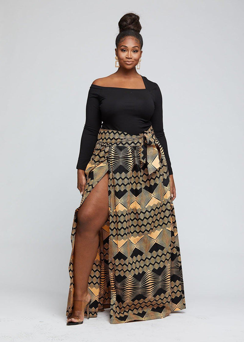 Cyrah African Print Maxi Skirt with Sash (Black Peach Geometric)