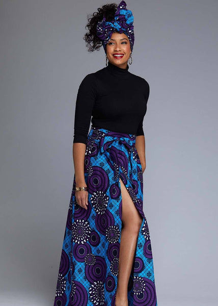 Skirts - Cyrah African Print Maxi Skirt With Sash (Blue Purple Swirls)