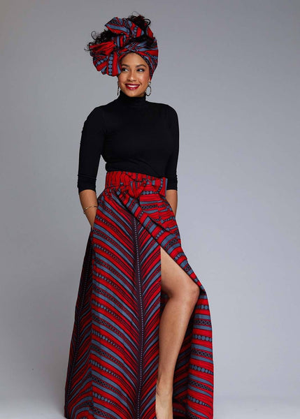 Skirts - Cyrah African Print Maxi Skirt With Sash (Red/Grey Stripes)