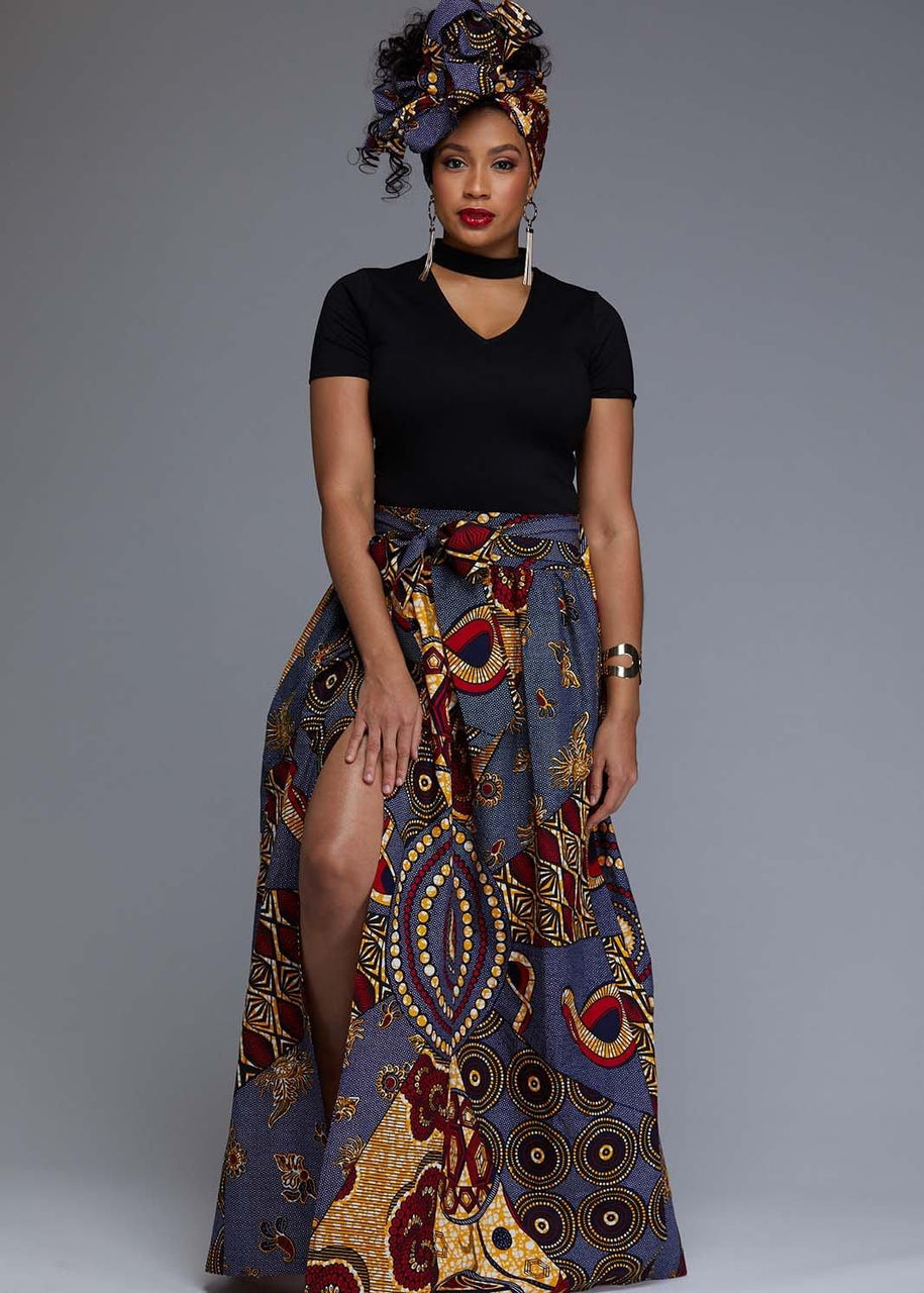 Skirts - Cyrah African Print Maxi Skirt With Sash (Yellow/Blue Multipattern)