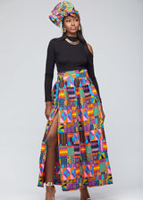 Skirts - Emi Women's African Print Maxi Skirt With Slit (Purple Pink Kente)