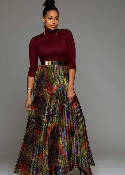 Skirts - Fara Chic Women's African Print Satin Maxi Pleated Skirt (Yellow Multicolored Waves)