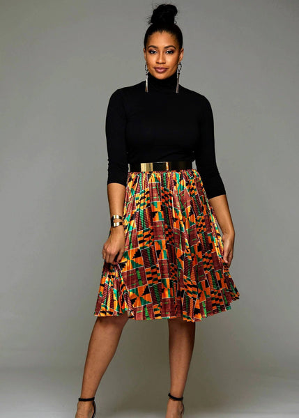 f80a56dc4a Funmi Chic Pleated African Print Satin Midi Skirt (Yellow Green Kente)-  Clearance