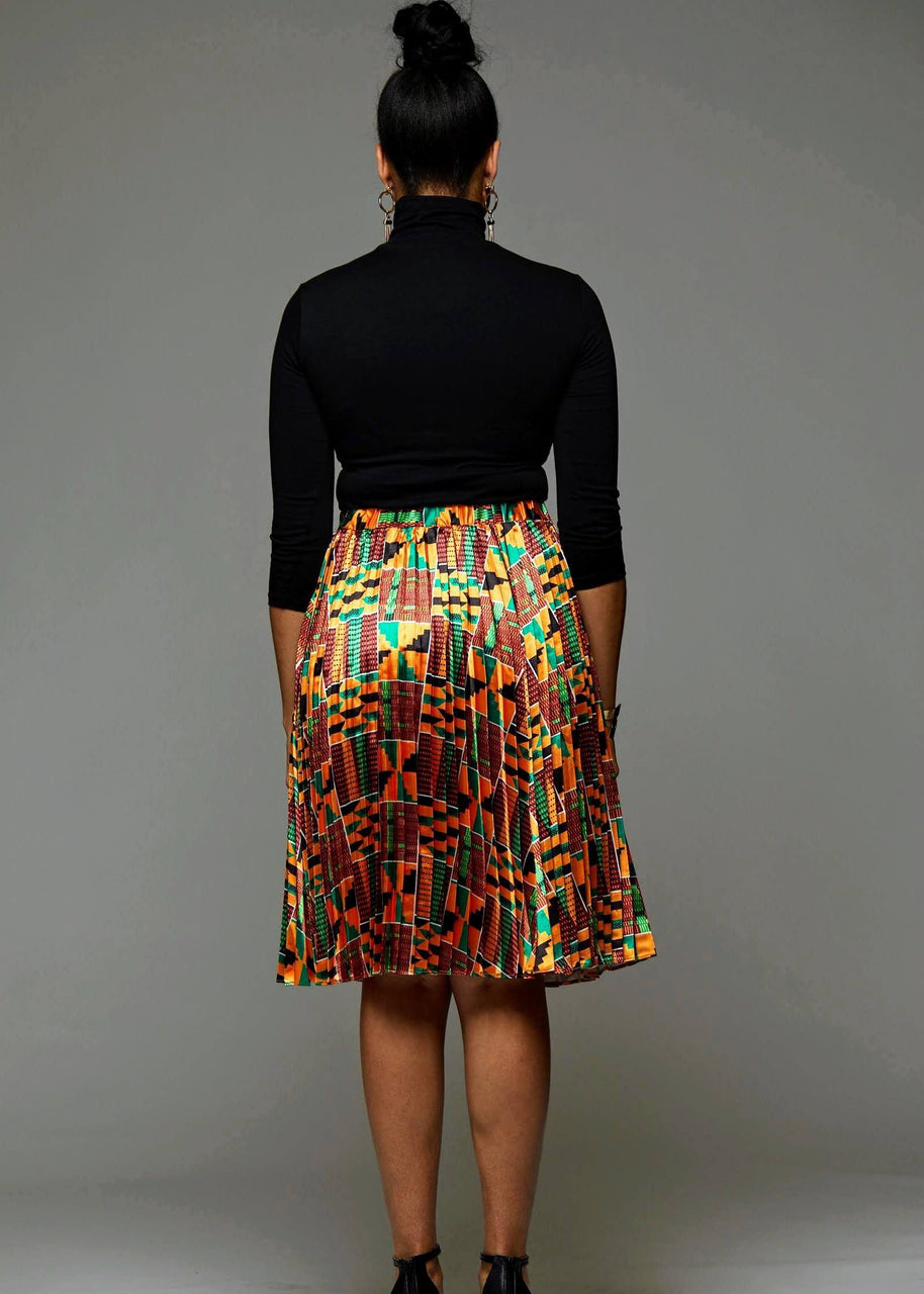 Skirts - Funmi Chic Pleated African Print Satin Midi Skirt (Yellow Green Kente)