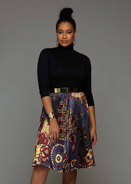 Skirts - Funmi Chic Pleated African Print Satin Skirt (Yellow Blue Multipattern)