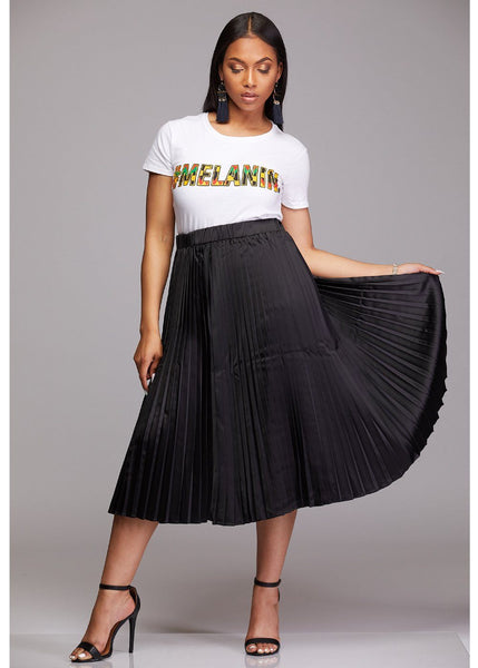 Skirts - Funmi Chic Pleated Satin Midi Skirt (Black) - Clearance