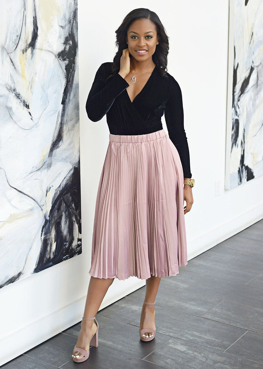 Skirts - Funmi Chic Pleated Satin Midi Skirt (Blush Pink)