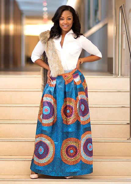 Skirts - Lulu Pleated Satin Maxi Skirt (Teal/Gold Circles)
