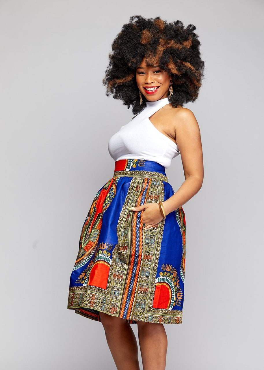 Skirts - Naya African Print Dashiki Midi Skirt With Sash (Blue/Orange)