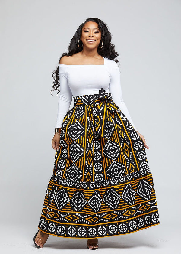 Nyah African Print Maxi Skirt With Tie (Black Gold Mudcloth)
