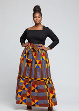 Nyah African Print Maxi Skirt With Tie (Gold Red Kente)