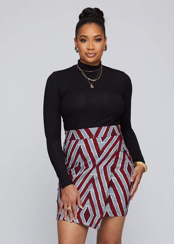 Skirts - Raisa African Print Stretch Fold-over Skirt (Maroon Grey Chevron)