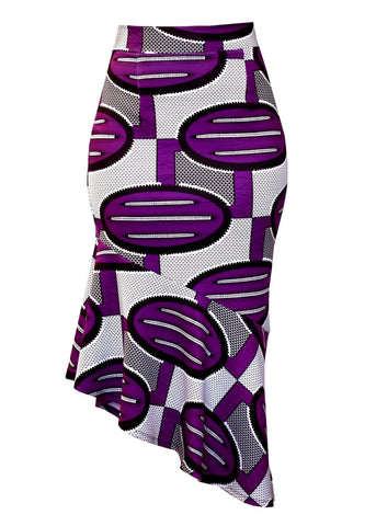 Skirts - Safia Stretch African Print Pencil Midi Skirt With Peplum Hem (Purple Ovals)