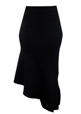 Skirts - Safia Stretch Pencil Midi Skirt With Peplum Hem (Black)