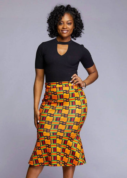 Skirts - Tabia Stretch African Print Mermaid Pencil Skirt (Black/Yellow Kente)