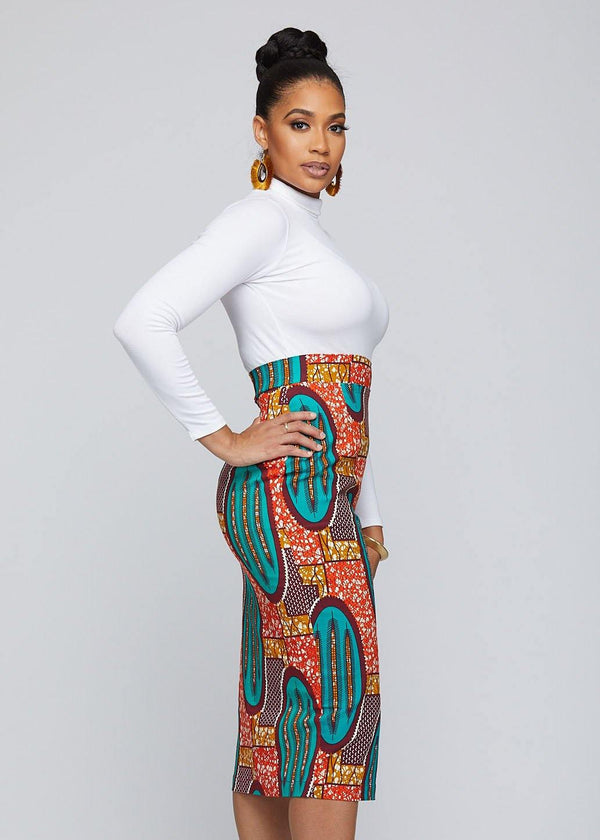 Skirts - Tavia African Print Stretch Midi Skirt (Orange Teal Ovals)