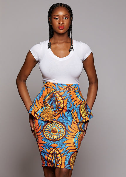 Skirts - Toyin Stretch African Print Peplum Pencil Skirt (Blue/Orange Flowers)