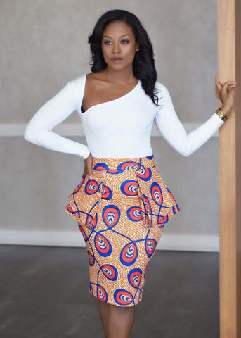 Skirts - Toyin Stretch African Print Peplum Pencil Skirt (Brown/Blue Feathers)