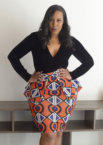Skirts - Toyin Stretch African Print Peplum Pencil Skirt (Orange Purple)