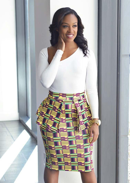 Skirts - Toyin Stretch African Print Peplum Pencil Skirt (Purple Yellow Kente)