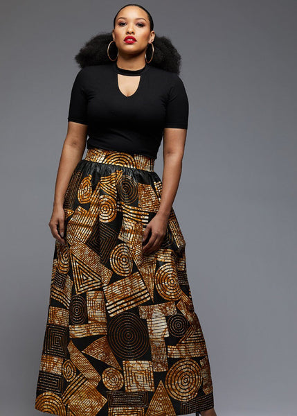 Skirts - Uma Chic African Print Maxi Skirt (Black Brown Geometric)