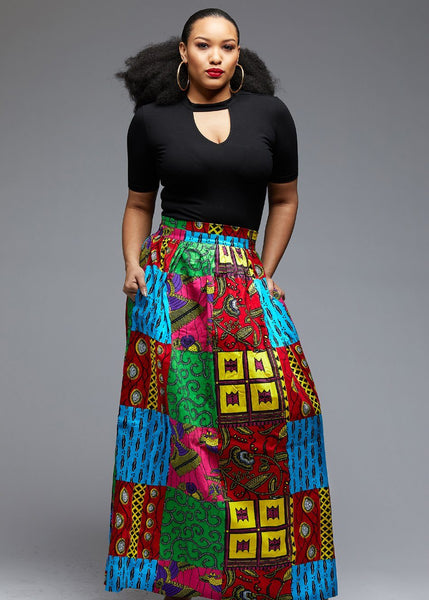 Skirts - Uma Chic African Print Maxi Skirt (Bright Multipattern)