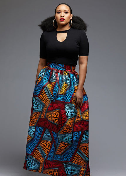 Skirts - Uma Chic African Print Maxi Skirt (Red/Orange/Blue)