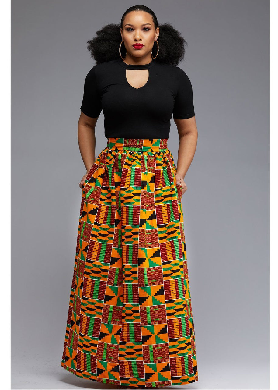 Skirts - Uma Chic African Print Maxi Skirt (Yellow Green Kente)