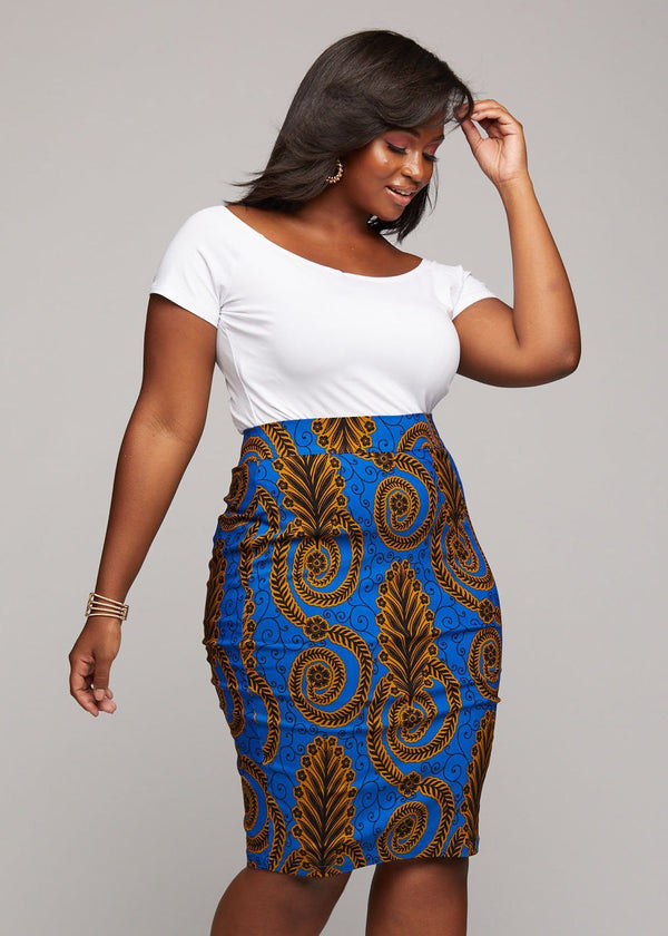 Skirts - Zari Women's African Print Knee-Length Pencil Skirt (Blue Gold Leaves)