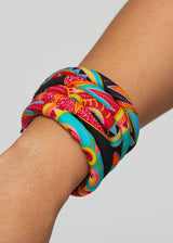 Asabi Women's African Print Layered Bangle Bracelet (Black Sunbursts)