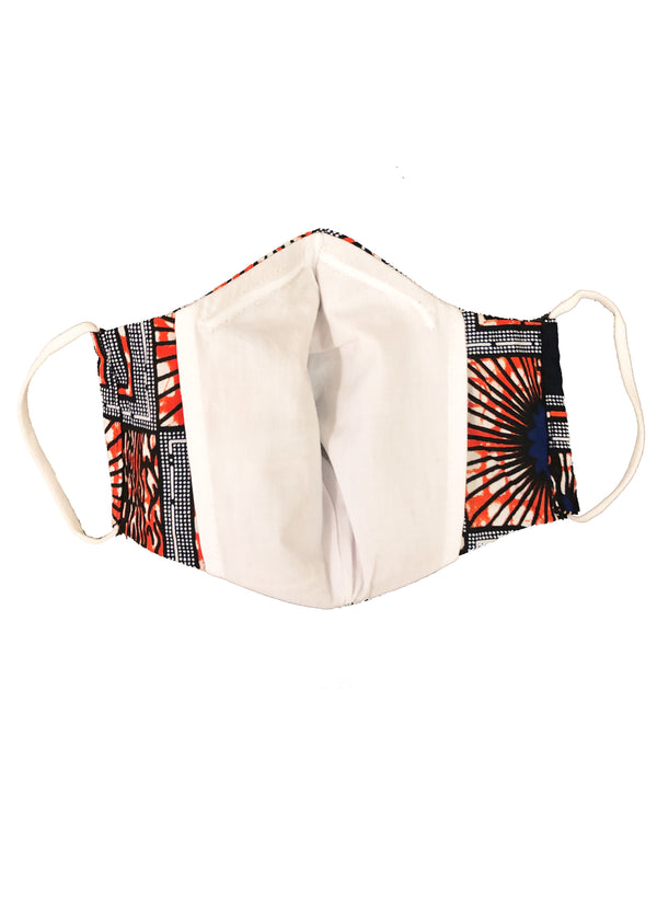 Shaka African Print 3 Layer Reusable Face Mask (Navy Orange Sunrise) - Clearance