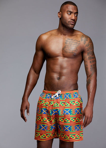 Swimwear - Dele Men's African Print Swim Trunk (Orange/Blue Kente)