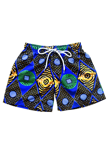 Swimwear - Wale Boy's African Print Swim Trunk (Blue/Green Diamonds) - Clearance