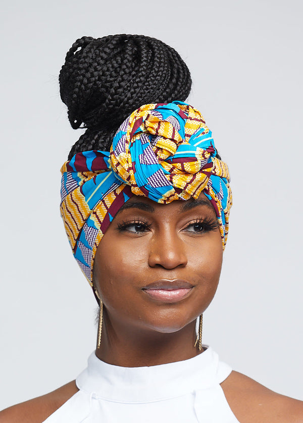 African Print Head Wrap/Scarf (Tan Blue Kente)