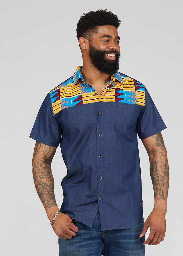 Akili African Print Color-Block Button-Up Shirt (Blue/Tan Blue Kente)